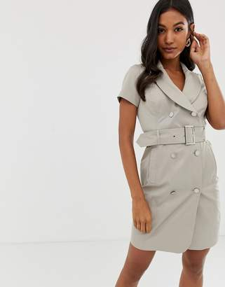 Morgan tie detail utility dress in beige