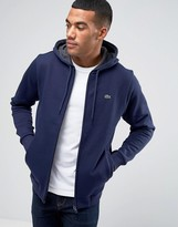 Lacoste Hoodie With Croc Logo In Navy