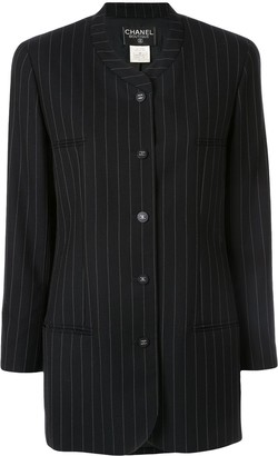 Chanel Pre-Owned pinstriped collarless jacket