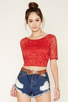Forever 21 FOREVER 21+ Embroidered Mesh Top