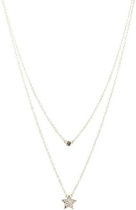 CZ by Kenneth Jay Lane Double Layer Star Charm Necklace in Silver
