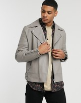 Asos Design DESIGN biker jacket in grey faux leather