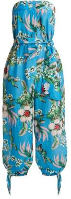 Diane von Furstenberg Floral-print Strapless Cotton-blend Jumpsuit - Womens - Blue Print