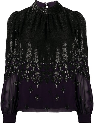 Temperley London Sequined Long-Sleeve Blouse