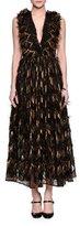 Dolce & Gabbana Metallic-Chevron Midi Dress W/Fringe, Gold/Black