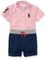 Ralph Lauren Striped Poplin Shirt w/ Twill Shorts, Red/White, Size 9-24 Months