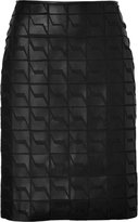 Fendi Leather/Silk Chiffon Pencil Skirt