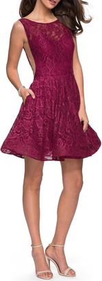 La Femme Lace Fit & Flare Cocktail Dress