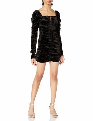 For Love & Lemons Women's Lola Long Sleeve Dress Noir Small