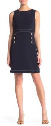 Tommy Hilfiger Sleeveless Button Scuba Crepe Shift Dress