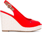Tommy Hilfiger sling-back wedge pumps - women - Cotton/Leather/rubber - 36