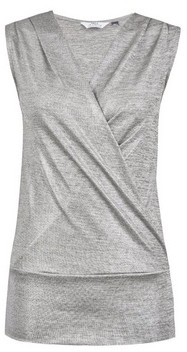 Dorothy Perkins Womens Tall Silver Shimmer Wrap Top