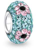 Bling Jewelry 925 Sterling Silver Blue Crystal Pink Flower Bead Fits Pandora