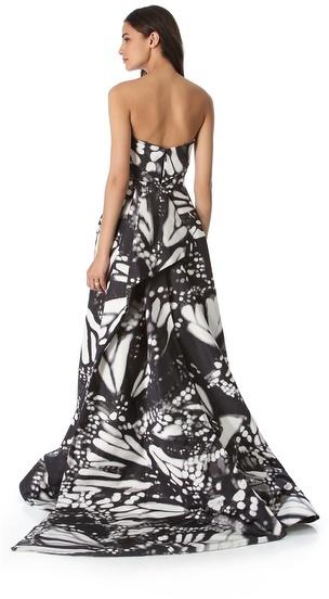 Monique Lhuillier Butterfly Strapless Gown