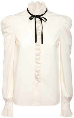 Philosophy di Lorenzo Serafini Ruffled Cotton Blend Shirt W/ Bow