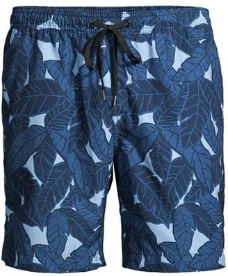 Onia Charles Leaf-Print Swim Trunks