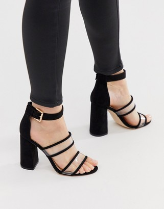 London Rebel clear strap heeled sandals