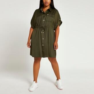 River Island Womens Plus Khaki tie waist shirt dress