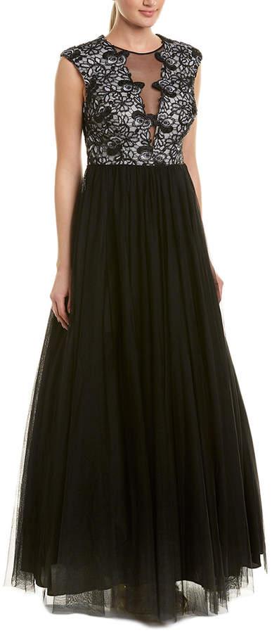 Aidan Mattox Silk-Trim Gown