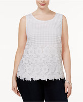 INC International Concepts Plus Size Lace Shell, Only at Macy's