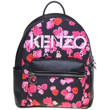 Kenzo Backpack Kombo Peonie In Leather And Fabric