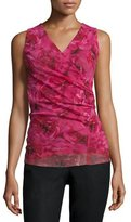 Fuzzi Sleeveless Rose-Print Ruched Top