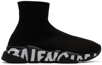 Balenciaga Black Graffiti Sole Speed Runner Sneakers