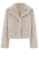 Quiz Light Stone Faux Fur Short Jacket