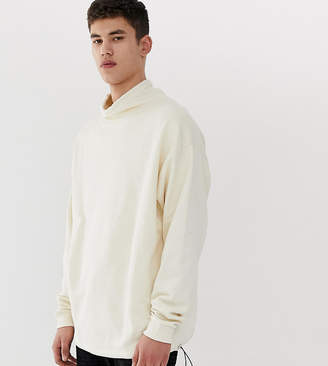 BEIGE Asos Design ASOS DESIGN Tall oversized sweatshirt with toggle details in