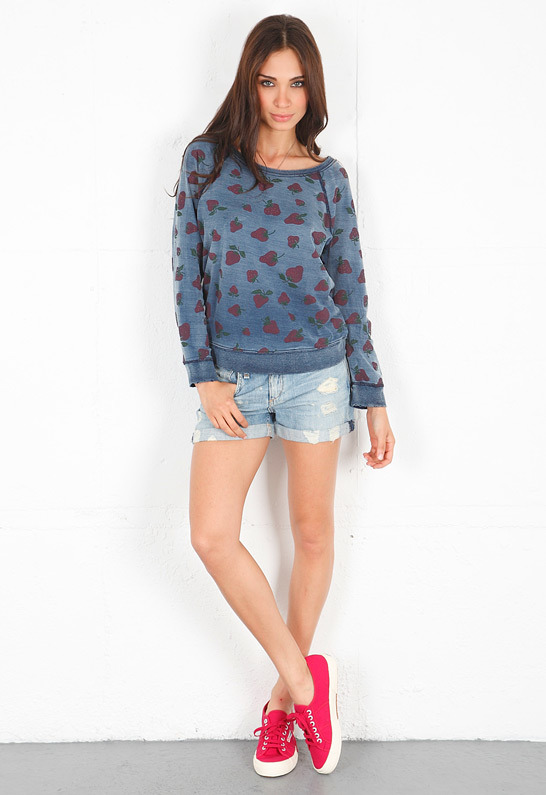 Current/Elliott The Letterman Sweatshirt in Strawberry Love