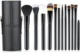 Professional Core Makeup Brush 12 Pcs Set Foundation Blending Blush Eyeliner Powder Brush Kit APL1246, Black