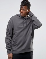 Asos Oversized Hoodie With Ruched Sleeve In Grey