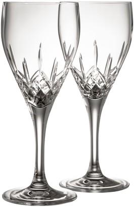 Belleek Pottery Longford White Wine Glass Pair