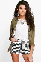Boohoo Linda Monochrome Stripe Woven Shorts