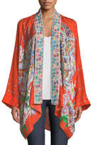 Johnny Was Summer Paisley Silk Kimono Cardigan, Plus Size