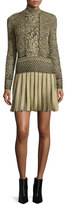 Roberto Cavalli Long-Sleeve Plisse-Skirt Mini Dress, Gold