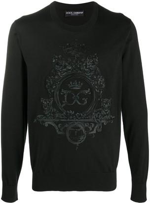 Dolce & Gabbana Embroidered Crest Logo Pullover
