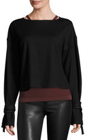 Helmut Lang Sonar Boxy Wool Tie-Cuff Pullover Sweater, Black