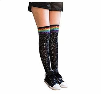 Chronstyle Women's Girls Stripe Diamond Glitter Over The Knee High Stockings Boot Socks (White(rainbow))