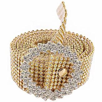 Czf Es Crystal Rhinestone Chain Waist Belt Wedding Crystal Trim Belt Diamante Chain Belt for Women Party Club Waistband Accessories