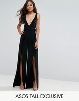 ASOS Tall ASOS TALL Plunge Wide Leg Jumpsuit with Split Front