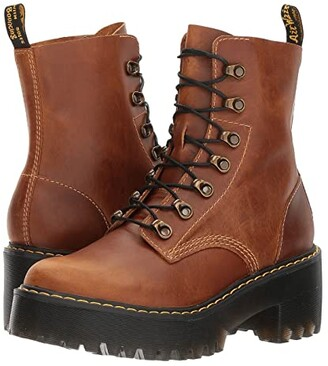 Dr. Martens Leona 7 Hook Boot (Black Vintage Smooth) Women's Shoes