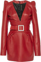 Alexandre Vauthier Belted Leather Mini Dress