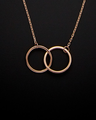 14K Italian Rose Gold Double Circle Necklace