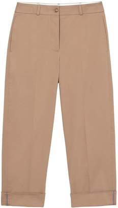 Burberry Icon Stripe Detail Stretch Cotton Cropped Trousers