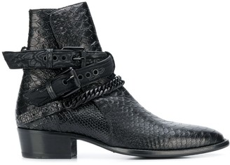 Amiri Buckle Chain Ankle Boots
