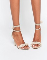 Aldo Silalia Nude Lace Up Pompom Heeled Sandal