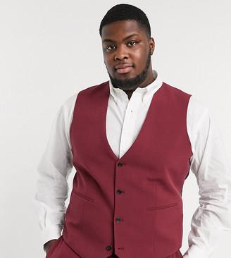 ASOS DESIGN Plus super skinny suit suit vest in burgundy