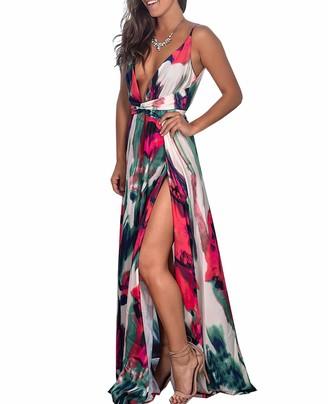 Vinlari Women Casual Sleeveless Deep V-Neck Max Swing Split Zipper Two Side Slit Fashion Slim Sexy Date Party Dress