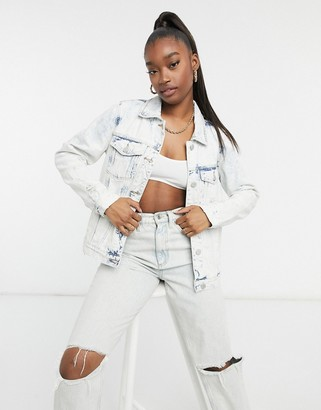 Blank NYC ice queen denim jacket in bleached denim